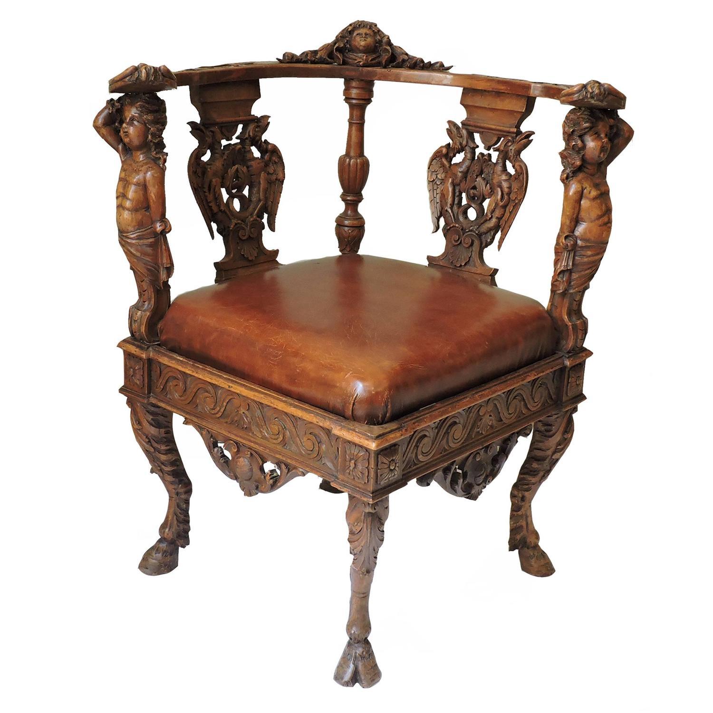 . Italian Renaissance Revival Solid Oak Corner Chair For Sale at 1stdibs
