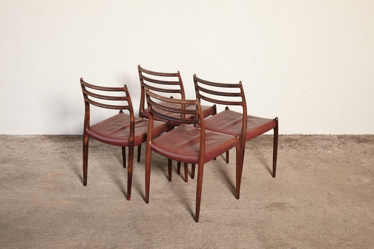 Set of Four Niels O Møller Model 78 Rosewood Dining Chairs, Denmark, 1960s For Sale 2