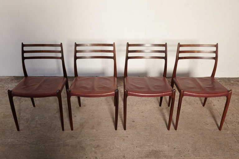 Set of Four Niels O Møller Model 78 Rosewood Dining Chairs, Denmark, 1960s In Excellent Condition For Sale In London, GB