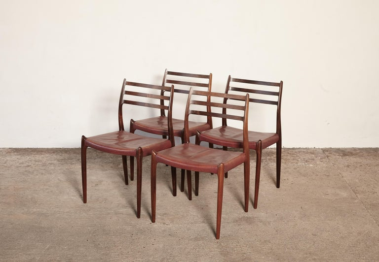Set of Four Niels O Møller Model 78 Rosewood Dining Chairs, Denmark, 1960s For Sale 3