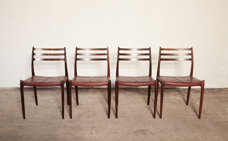 Danish Set of Four Niels O Møller Model 78 Rosewood Dining Chairs, Denmark, 1960s For Sale