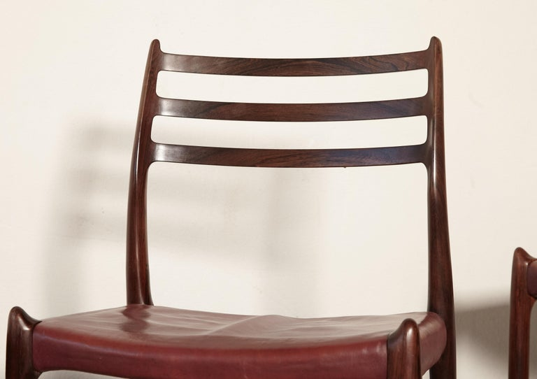 Set of Four Niels O Møller Model 78 Rosewood Dining Chairs, Denmark, 1960s For Sale 8
