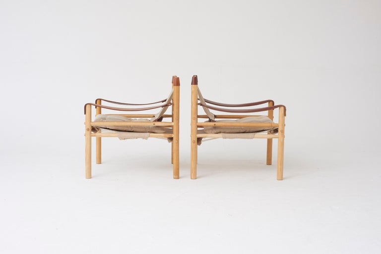 Scandinavian Modern Pair of Arne Norell Safari Sirocco Lounge Chairs, Sweden, Norell Mobler For Sale