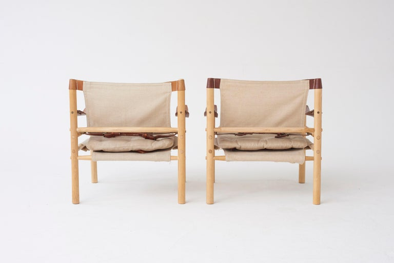 Pair of Arne Norell Safari Sirocco Lounge Chairs, Sweden, Norell Mobler In Excellent Condition For Sale In London, GB