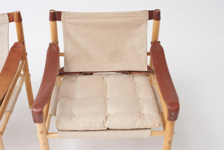 Brass Pair of Arne Norell Safari Sirocco Lounge Chairs, Sweden, Norell Mobler For Sale