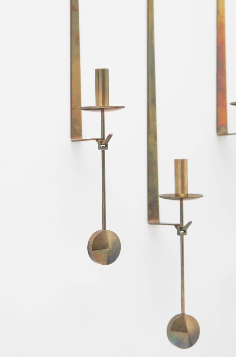 Swedish Wall Candleholders by Pierre Forssell, Skultuna, Sweden, 1950s For Sale