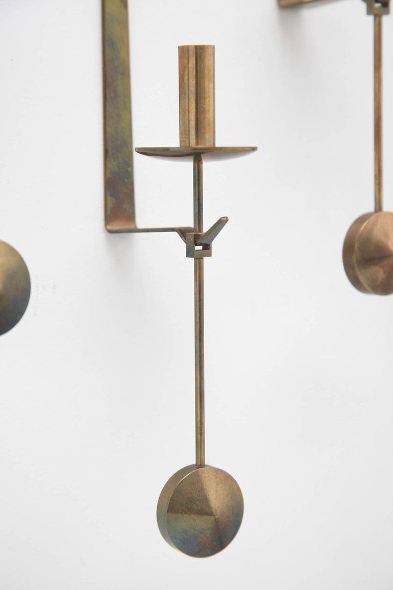 20th Century Wall Candleholders by Pierre Forssell, Skultuna, Sweden, 1950s For Sale