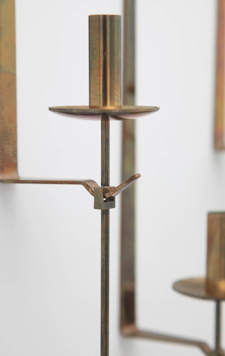 Brass Wall Candleholders by Pierre Forssell, Skultuna, Sweden, 1950s For Sale