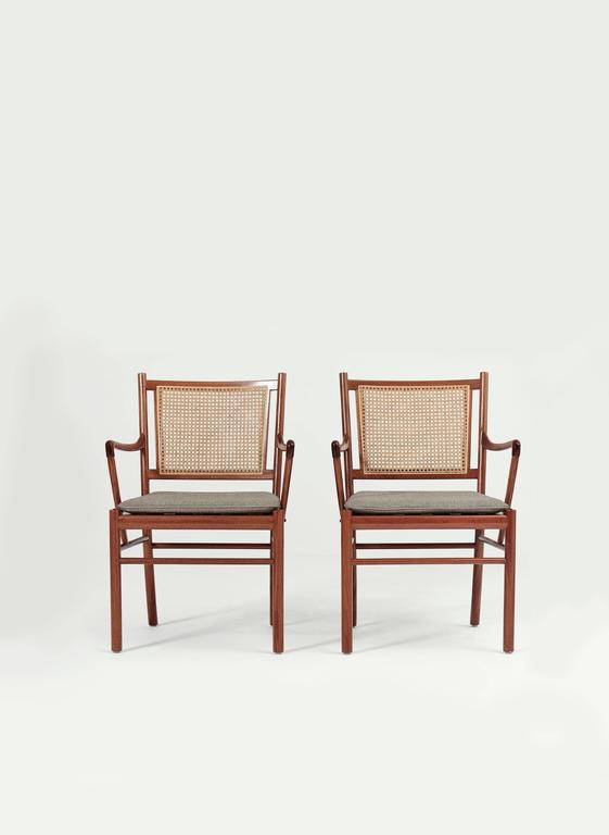 A Pair Of Ole Wanscher Colonial Dining Chairs, Poul Jeppesen, Denmark.  Signed With