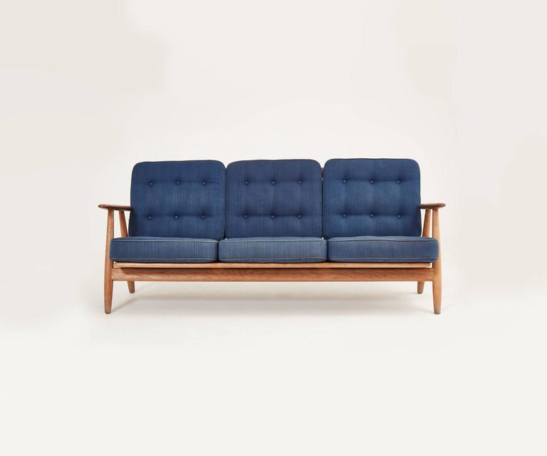 Early Oak Hans Wegner Cigar Sofa, Denmark, 1950s 1960s 3