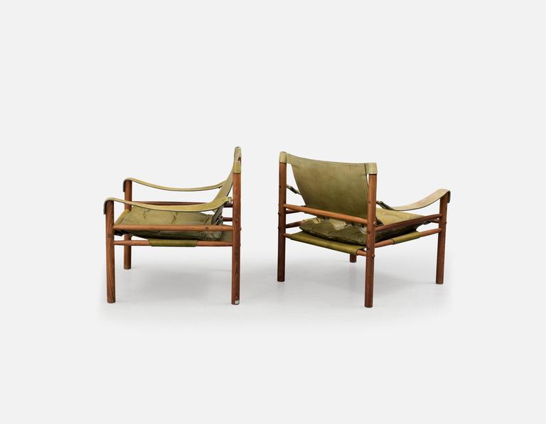 Pair of Arne Norell 'Sirocco' Safari Chairs, Aneby Mobler, Sweden, 1960s 2