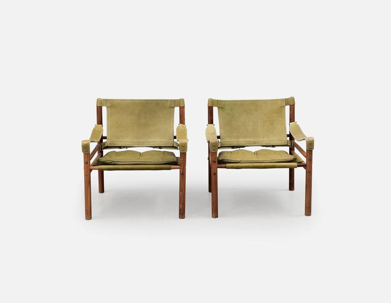 Pair of Arne Norell 'Sirocco' Safari Chairs, Aneby Mobler, Sweden, 1960s 3