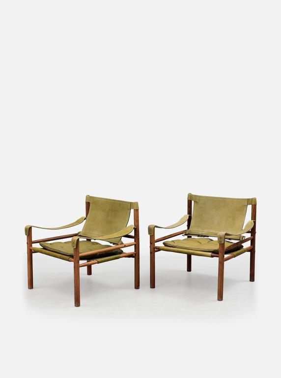 Pair of Arne Norell 'Sirocco' Safari Chairs, Aneby Mobler, Sweden, 1960s 4