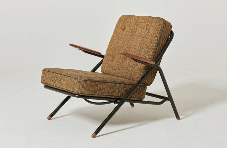 Metal Rare Hans Wegner GE215 Sawbuck Chair, Denmark, 1950s For Sale