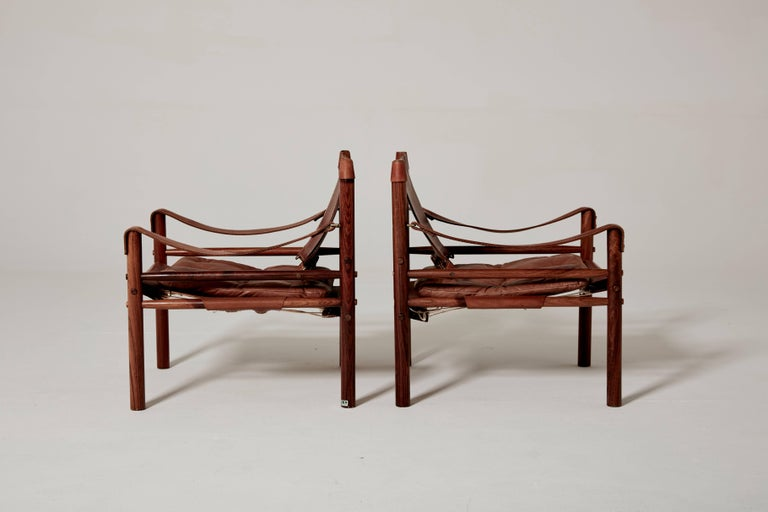 Pair of Arne Norell Safari 'Sirocco' Chairs, Sweden, 1960s In Excellent Condition In London, GB