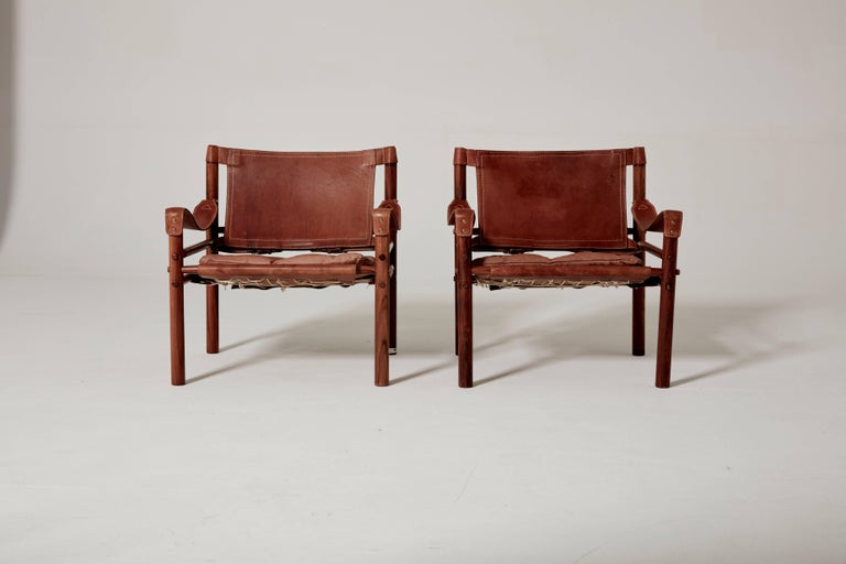 Mid-Century Modern Pair of Arne Norell Safari 'Sirocco' Chairs, Sweden, 1960s