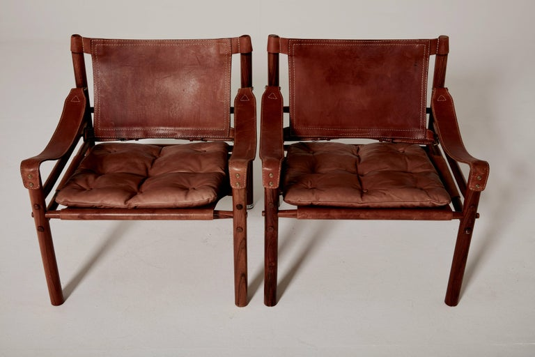 Pair of Arne Norell Safari 'Sirocco' Chairs, Sweden, 1960s 1