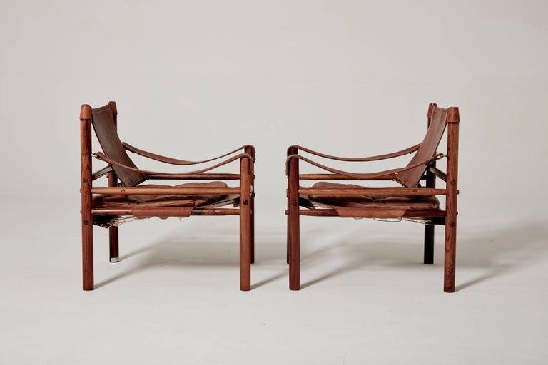 Swedish Pair of Arne Norell Safari 'Sirocco' Chairs, Sweden, 1960s
