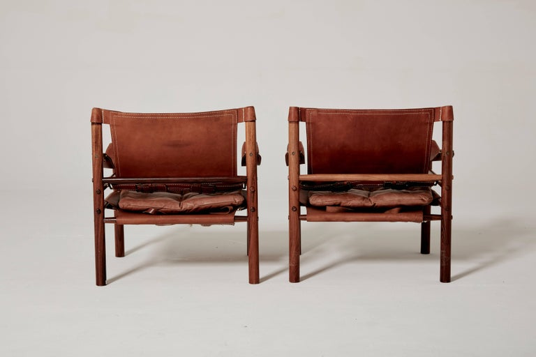 Pair of Arne Norell Safari 'Sirocco' Chairs, Sweden, 1960s 2