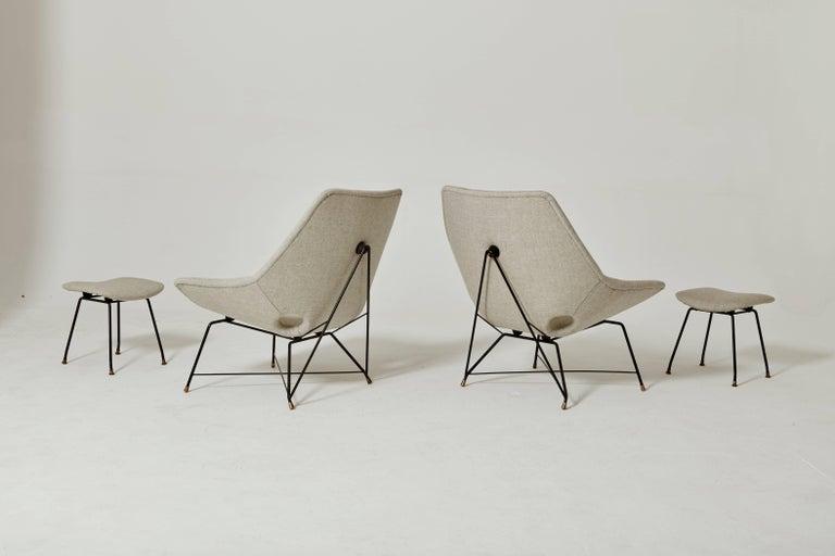 augusto bozzi kosmos chairs and ottomans for saporiti italia 1954