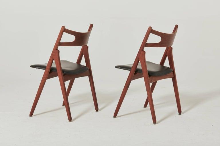 Teak Set of Six Hans Wegner CH-29 Sawbuck Dining Chairs, Carl Hansen, Denmark For Sale