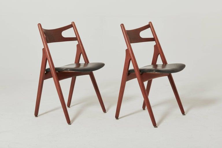 20th Century Set of Six Hans Wegner CH-29 Sawbuck Dining Chairs, Carl Hansen, Denmark For Sale