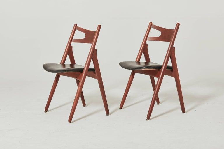 Danish Set of Six Hans Wegner CH-29 Sawbuck Dining Chairs, Carl Hansen, Denmark For Sale