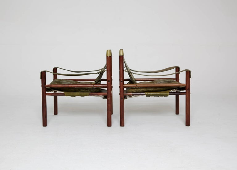 Scandinavian Modern Pair of Green Leather Arne Norell 'Sirocco' Safari Chairs, Sweden, 1960s-1970s