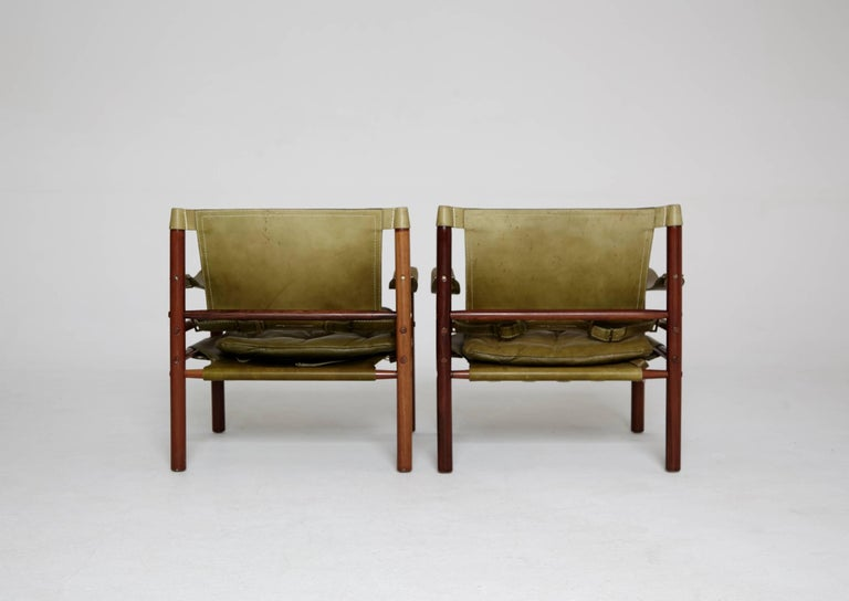 20th Century Pair of Green Leather Arne Norell 'Sirocco' Safari Chairs, Sweden, 1960s-1970s