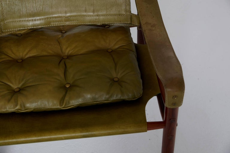 Pair of Green Leather Arne Norell 'Sirocco' Safari Chairs, Sweden, 1960s-1970s 2