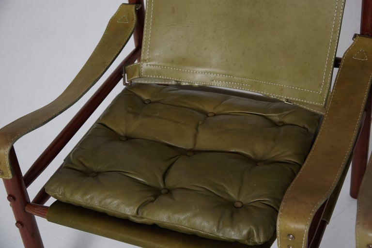 Pair of Green Leather Arne Norell 'Sirocco' Safari Chairs, Sweden, 1960s-1970s 3