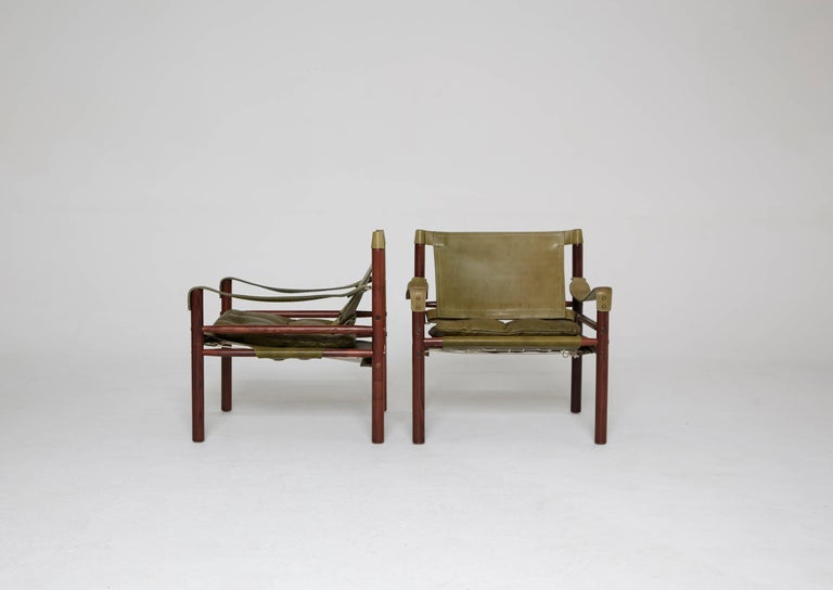 Pair of Green Leather Arne Norell 'Sirocco' Safari Chairs, Sweden, 1960s-1970s 4