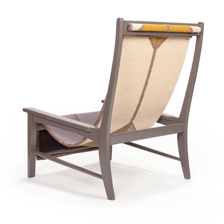 Sling Chair Lounge Chair in Gray Ash Wool Sling For Sale at 1stdibs