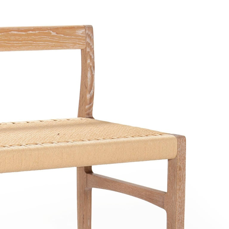 Mid-Century Modern Giacomo Bench with Back, Solid White Oak with Handwoven Danish Cord Seat 48