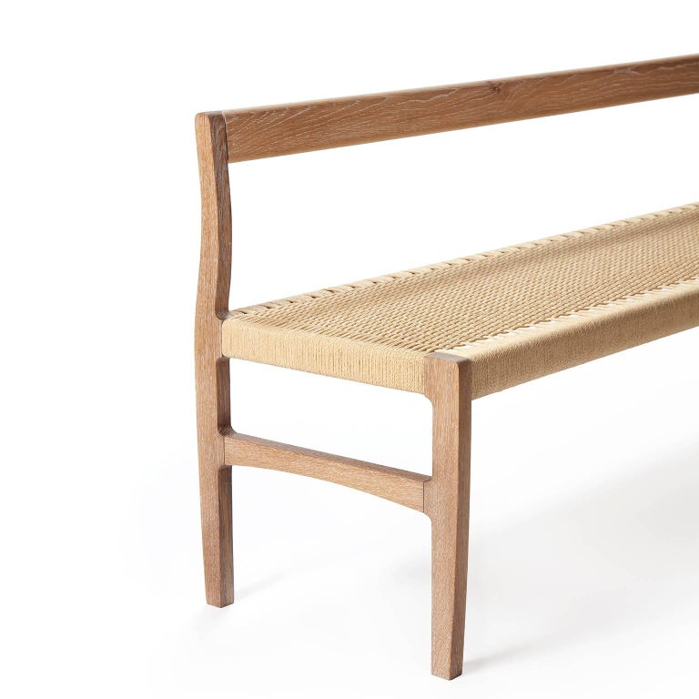 American Giacomo Bench with Back, Solid White Oak with Handwoven Danish Cord Seat 48