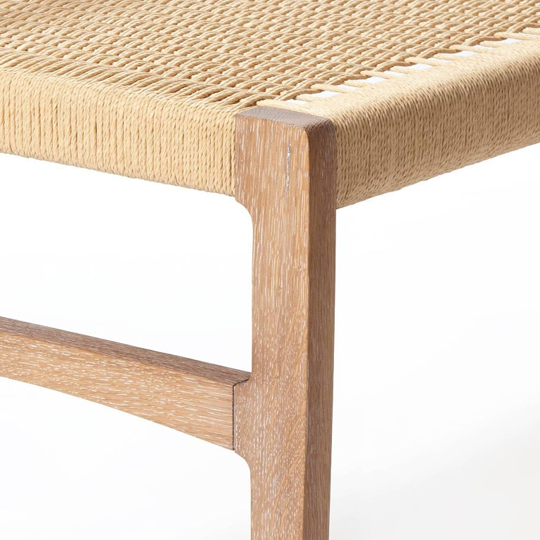 Oiled Giacomo Bench with Back, Solid White Oak with Handwoven Danish Cord Seat 48