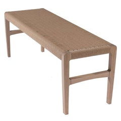 """Giacomo Bench, Cerused Oak with Handwoven Paper Cord - 59"""""""