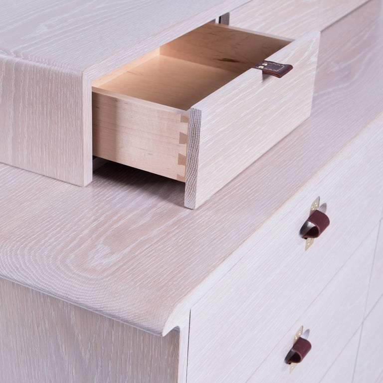 Brushed Kyoto Dresser, Whitewashed White Oak, Leather and Brass Detailing For Sale