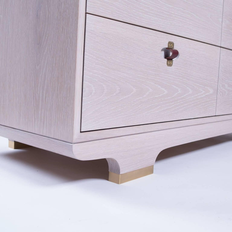 Kyoto Dresser, Whitewashed White Oak, Leather and Brass Detailing In New Condition For Sale In Brooklyn, NY