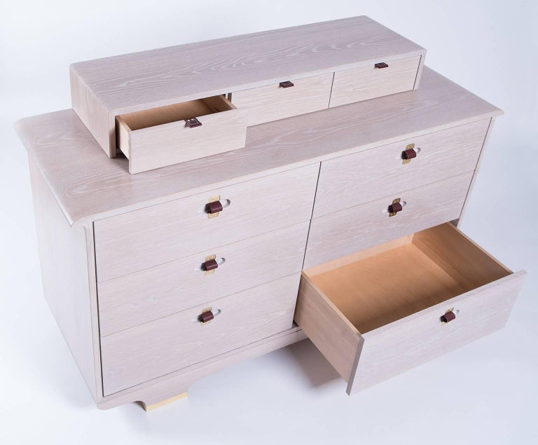 Contemporary Kyoto Dresser, Whitewashed White Oak, Leather and Brass Detailing For Sale
