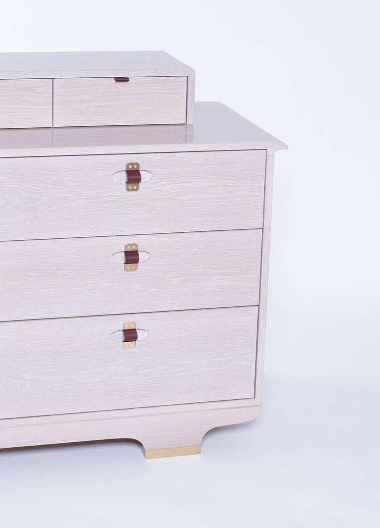 Kyoto Dresser, Whitewashed White Oak, Leather and Brass Detailing For Sale 2