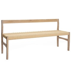 Giacomo Bench with Back, Solid White Oak with Handwoven Paper Cord Seat
