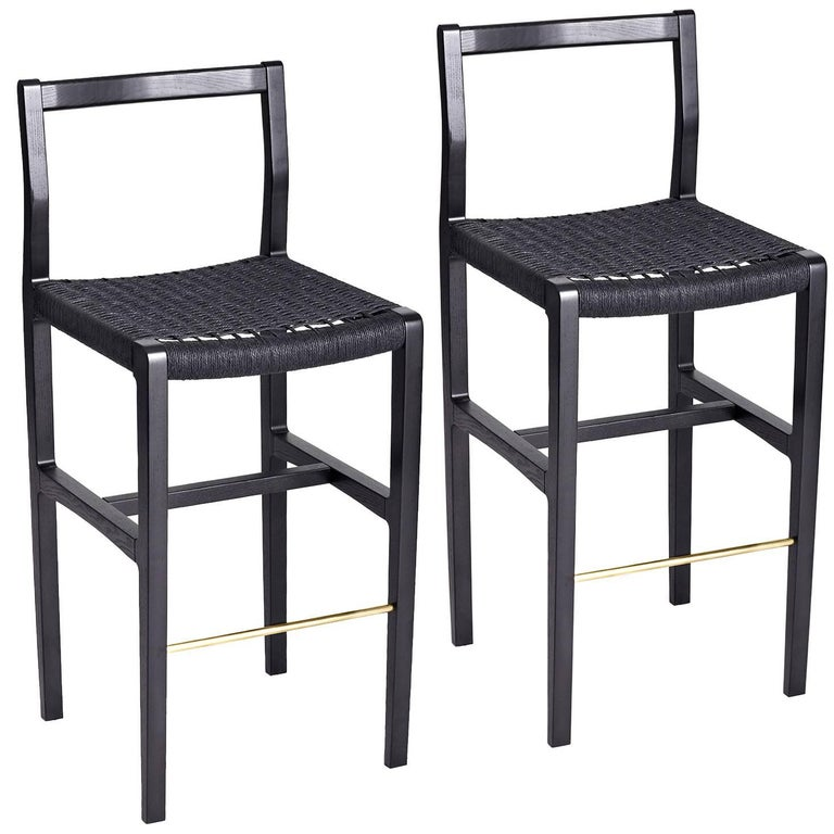 Giacomo Bar Stools 2 in Ebonized Ash lightly used and  : Bar04double2orgorgmaster from www.1stdibs.com size 768 x 768 jpeg 65kB