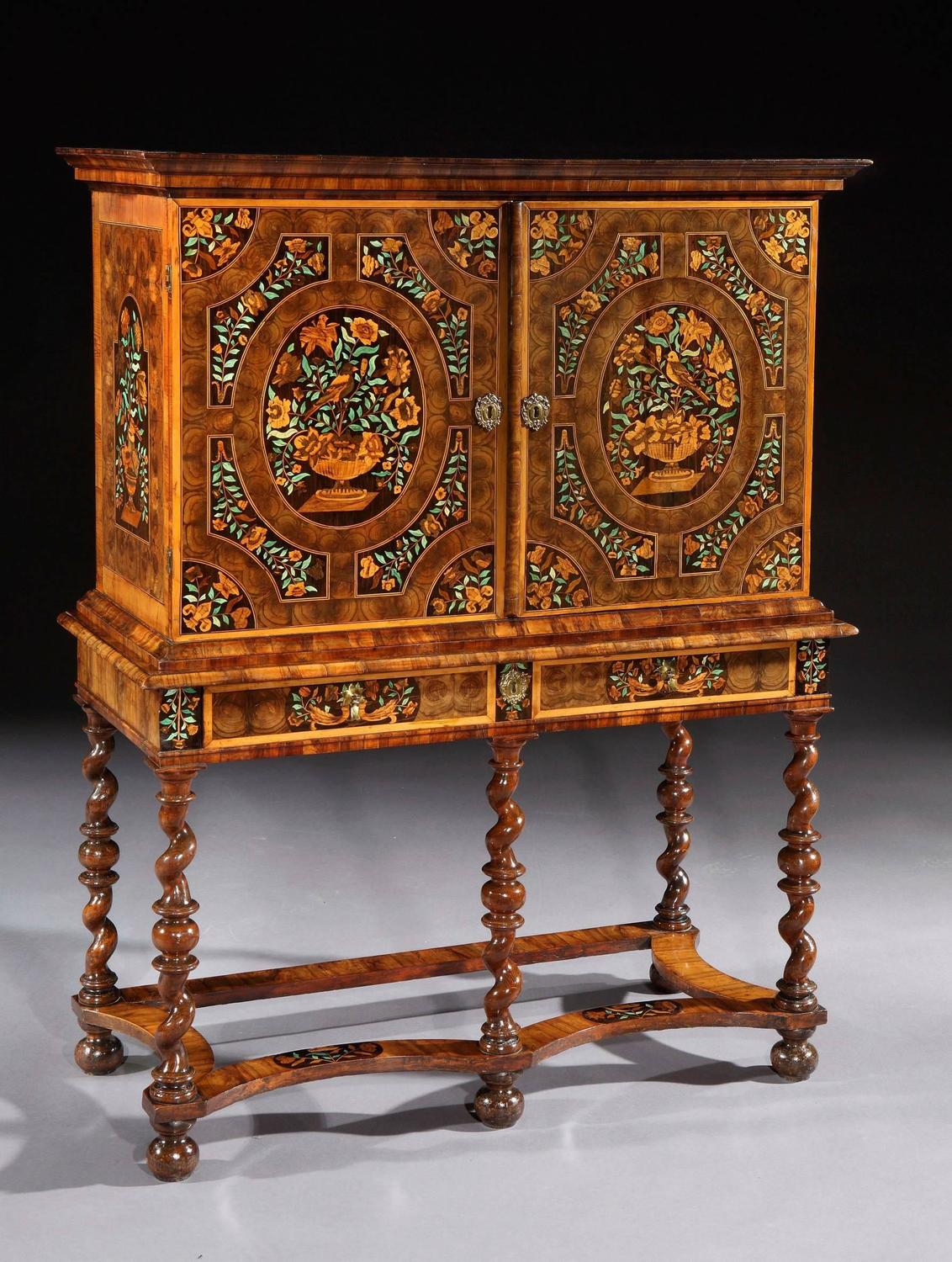 Charles Ii Oyster Veneered Olivewood And Marquetry Cabinet