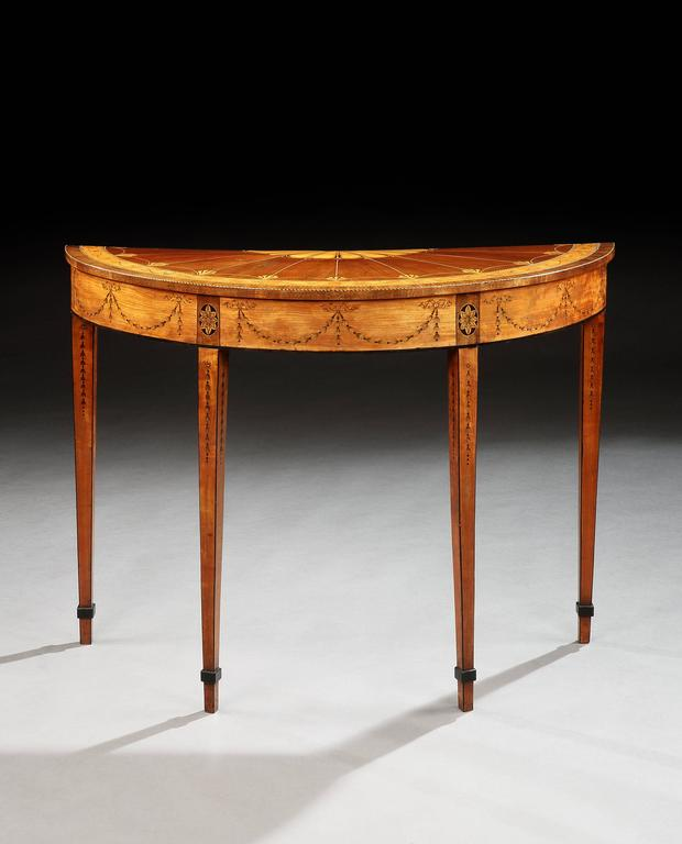 George III Satinwood and Marquetry Side Table 3