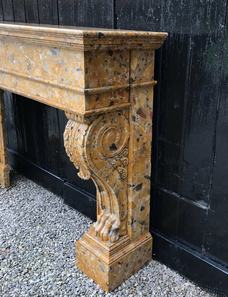 Beautiful French, 19th Century Charles X Chimney in Aleppo Breach Marble For Sale 3