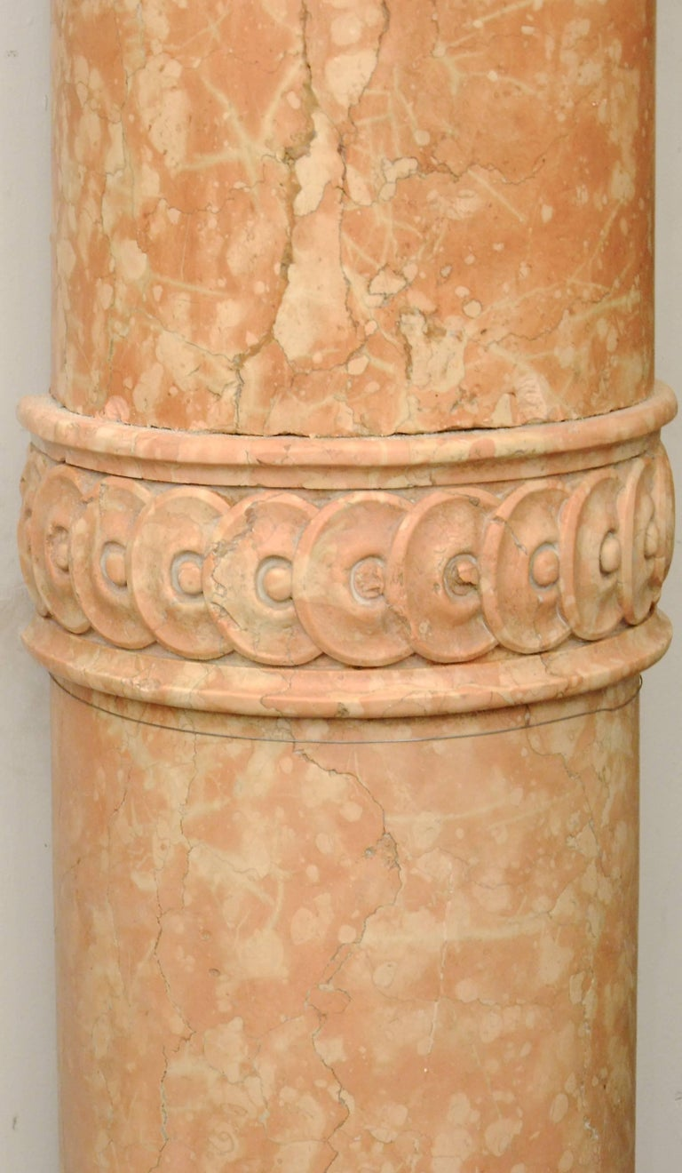 Greek Revival Set of Four 19th Century Half-Columns in Red Verona Marble and Vincenza Stone For Sale