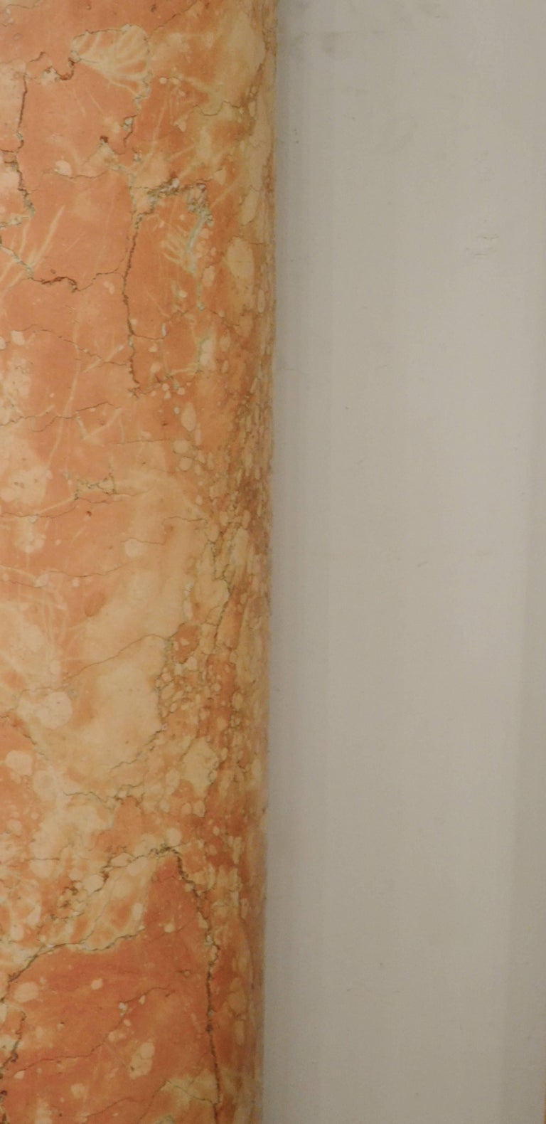 Set of Four 19th Century Half-Columns in Red Verona Marble and Vincenza Stone In Good Condition For Sale In Brussels, BE