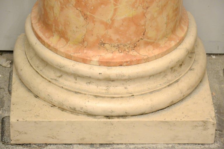 Italian Set of Four 19th Century Half-Columns in Red Verona Marble and Vincenza Stone For Sale