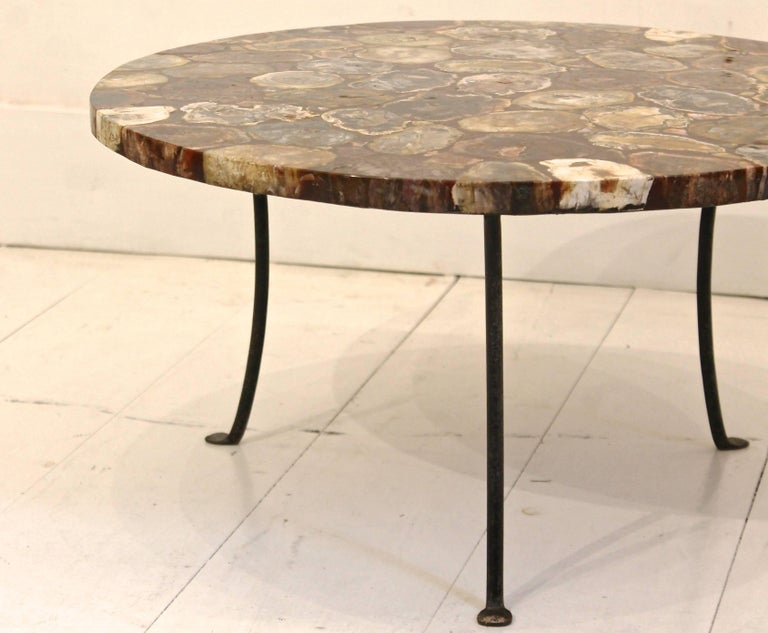 20th Century Set Of Four Petrified Wood And Wrought Iron Coffee Tables For